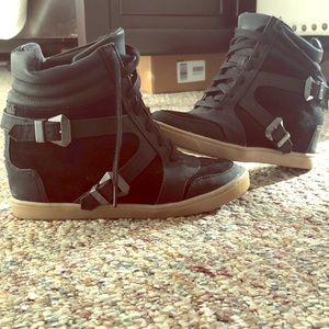 Sam Edelman Circus Black Sneaker Wedges Size 8